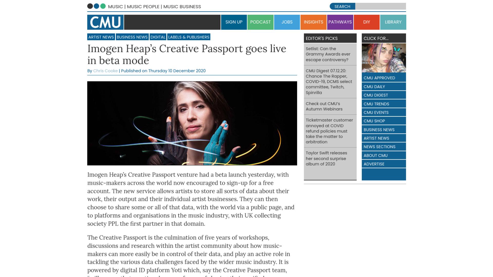 Fairness Rocks News Imogen Heap's Creative Passport goes live in beta mode