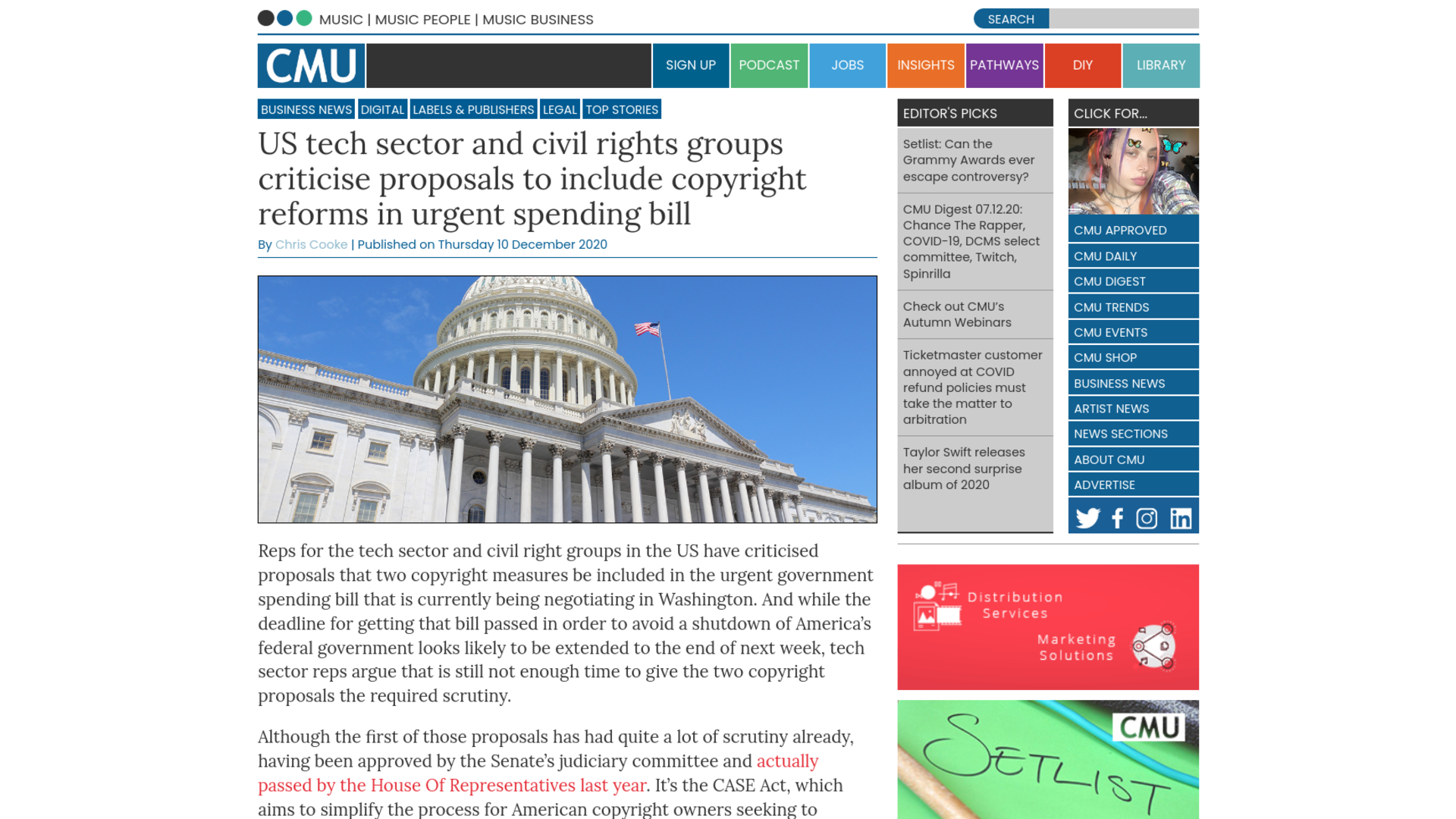 Fairness Rocks News US tech sector and civil rights groups criticise proposals to include copyright reforms in urgent spending bill