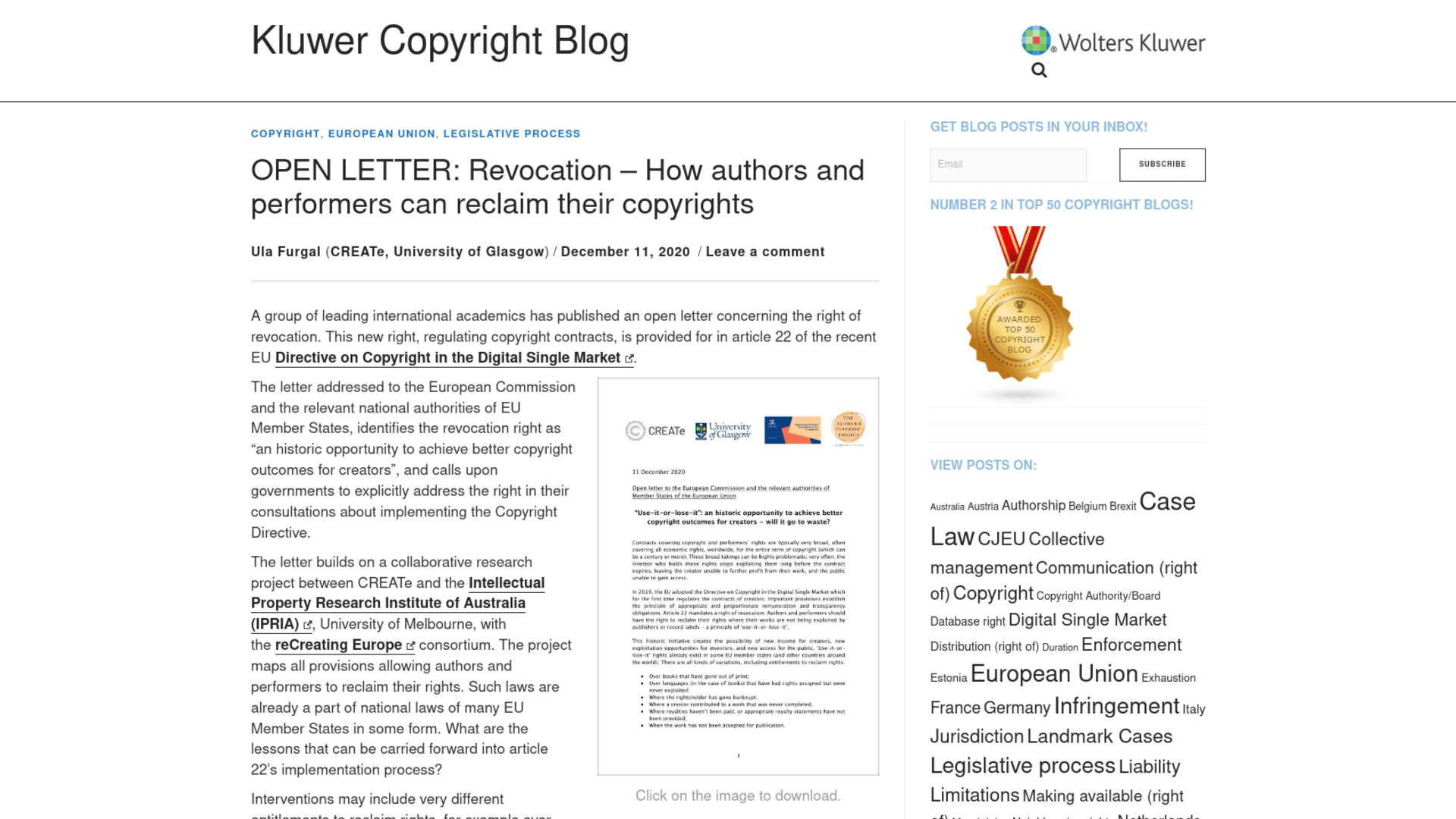 Fairness Rocks News OPEN LETTER: Revocation – How authors and performers can reclaim their copyrights