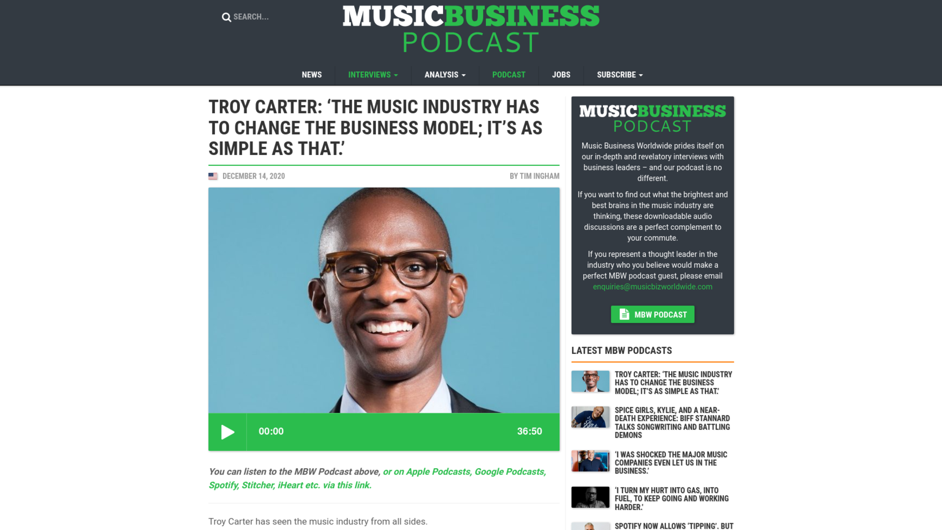 Fairness Rocks News Troy Carter: 'The music industry has to change the business model; it's as simple as that.'