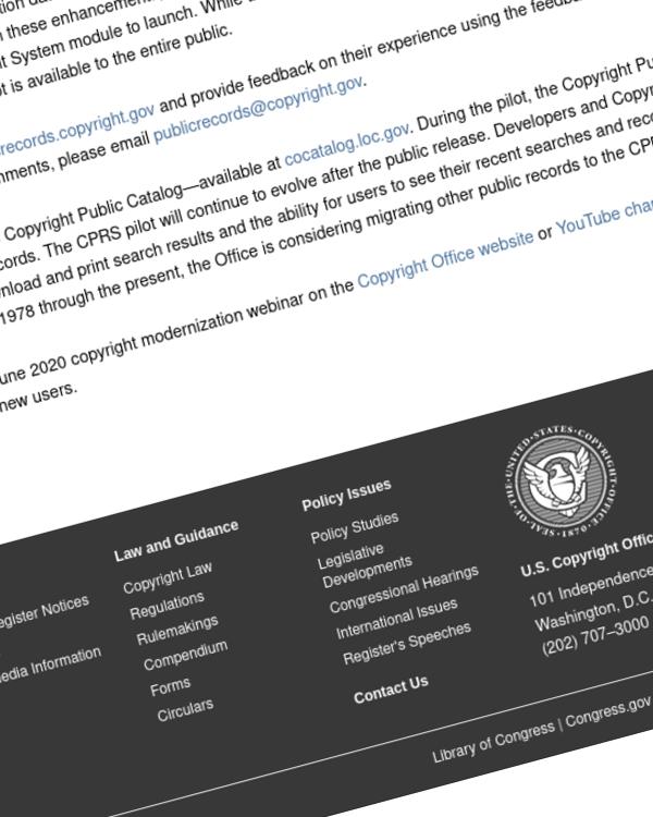 Fairness Rocks News Copyright Office Launches Copyright Public Records System Pilot