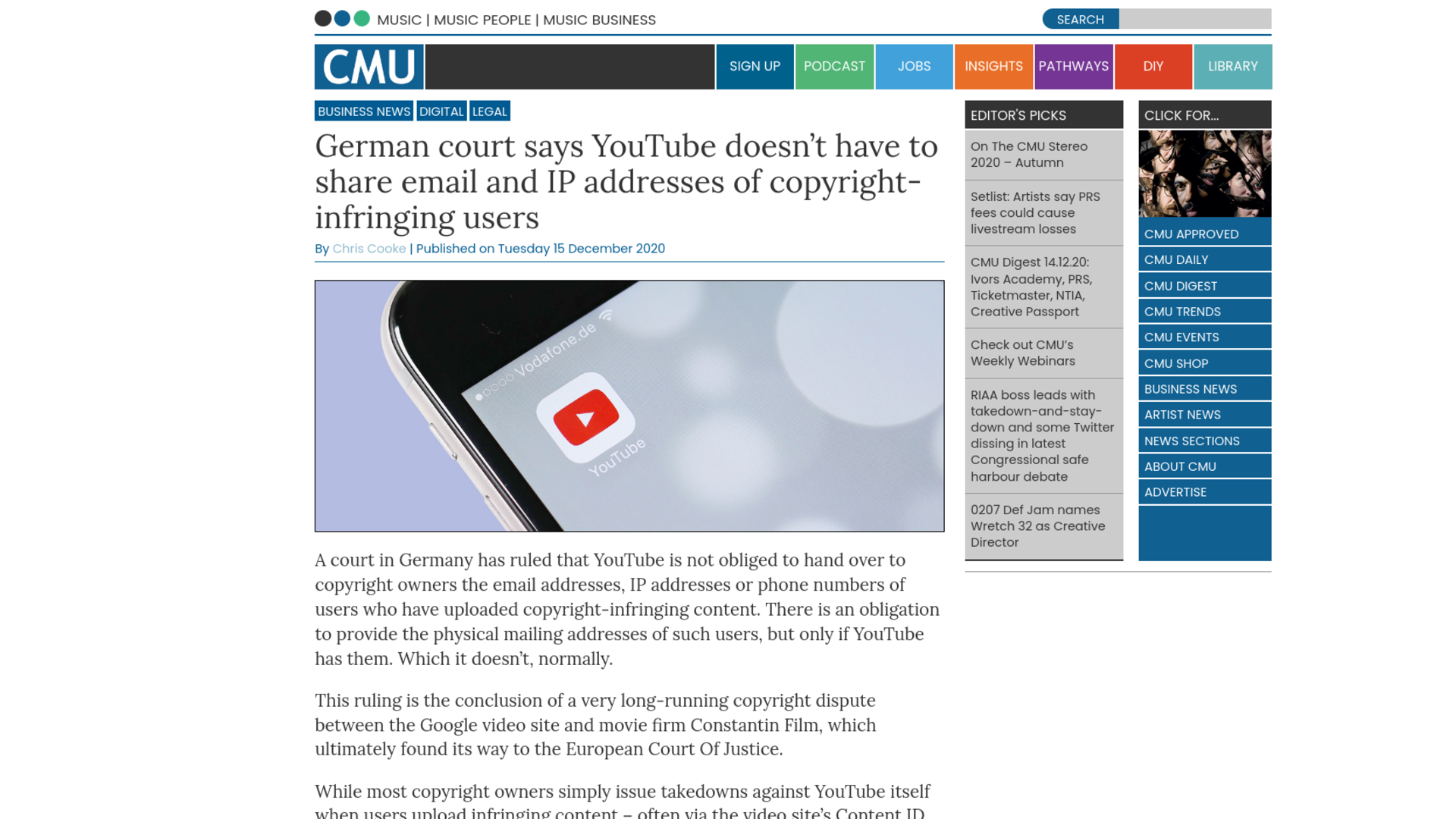 Fairness Rocks News German court says YouTube doesn't have to share email and IP addresses of copyright-infringing users