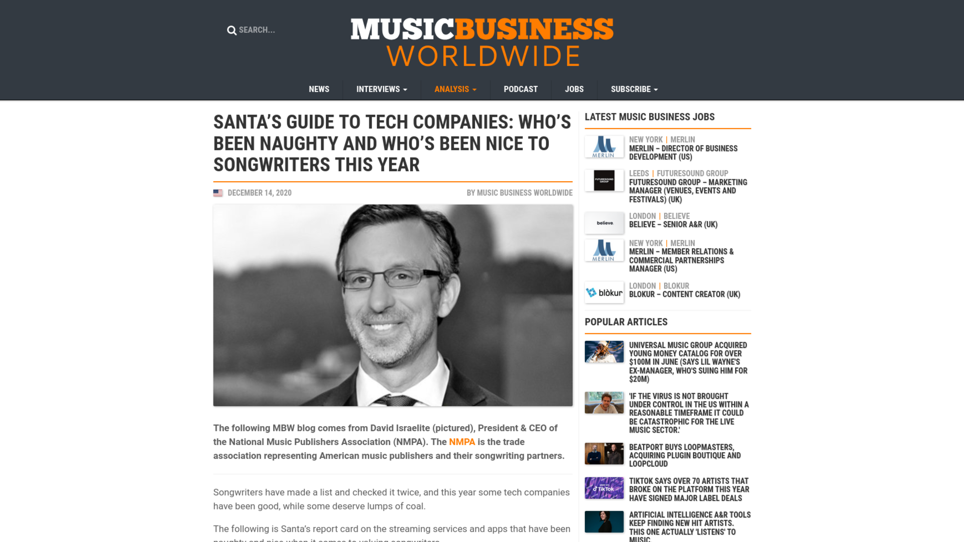 Fairness Rocks News Santa's guide to tech companies: Who's been naughty and who's been nice to songwriters this year