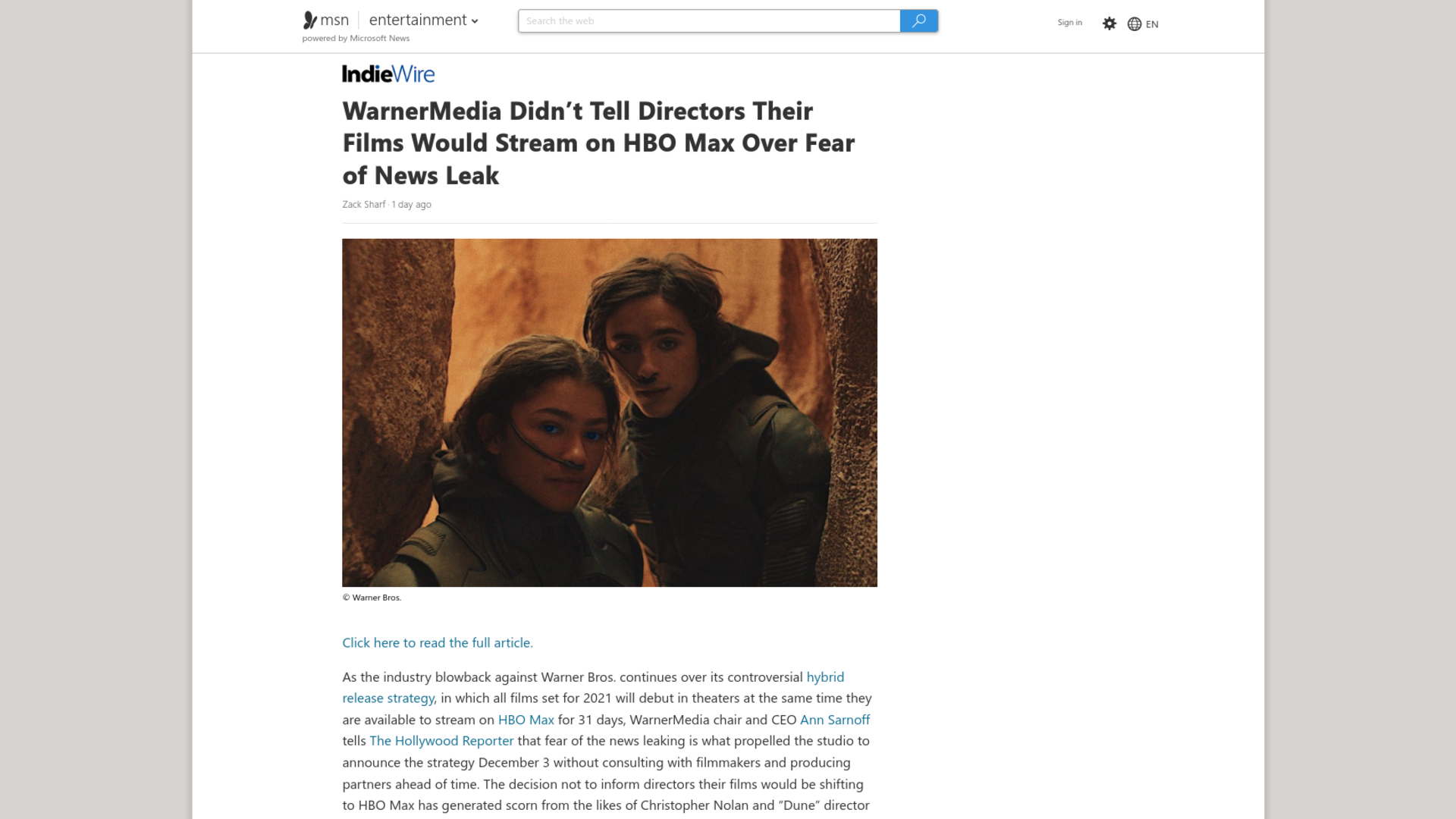 Fairness Rocks News WarnerMedia Didn't Tell Directors Their Films Would Stream on HBO Max Over Fear of News Leak