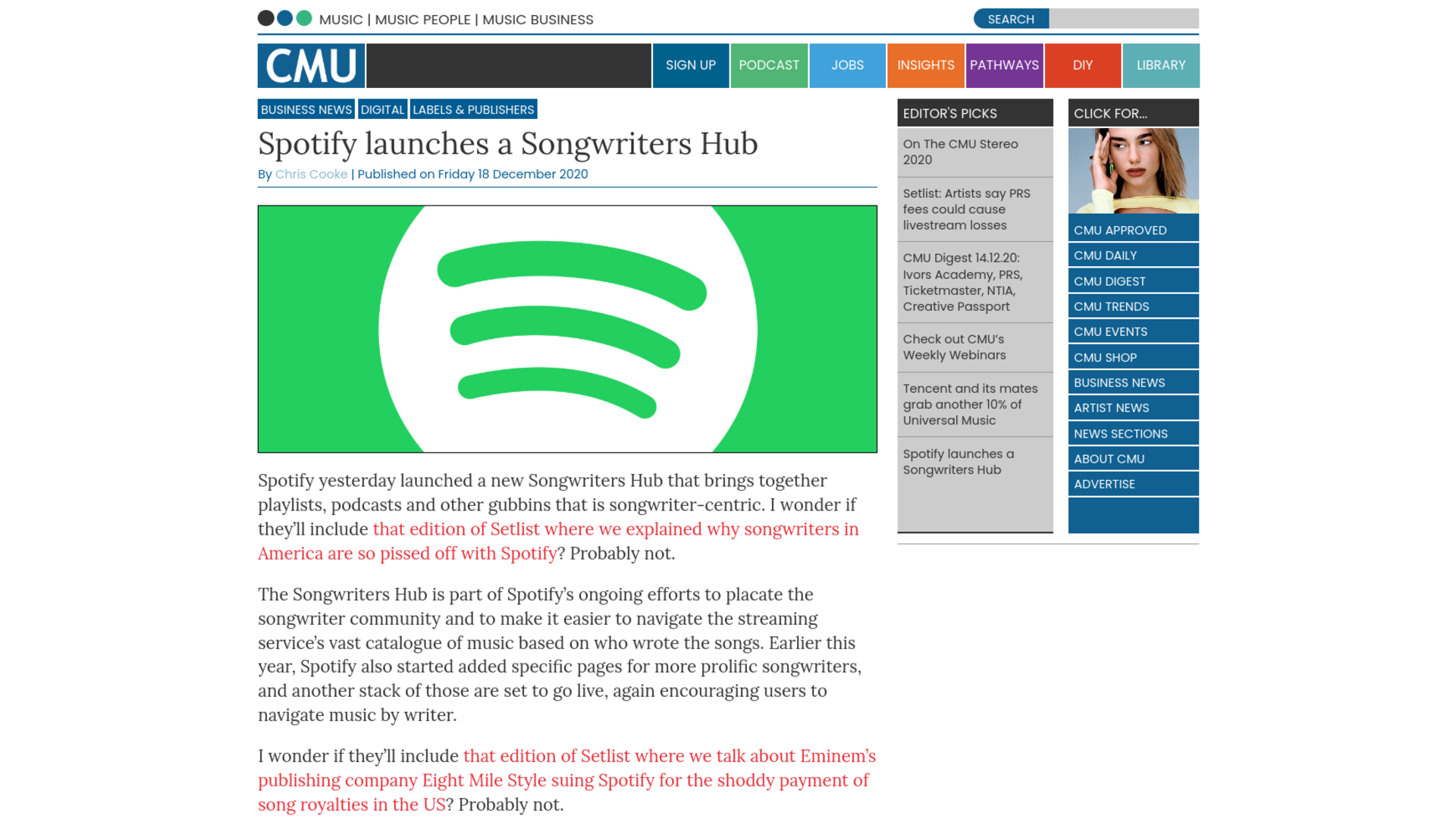 Fairness Rocks News Spotify launches a Songwriters Hub