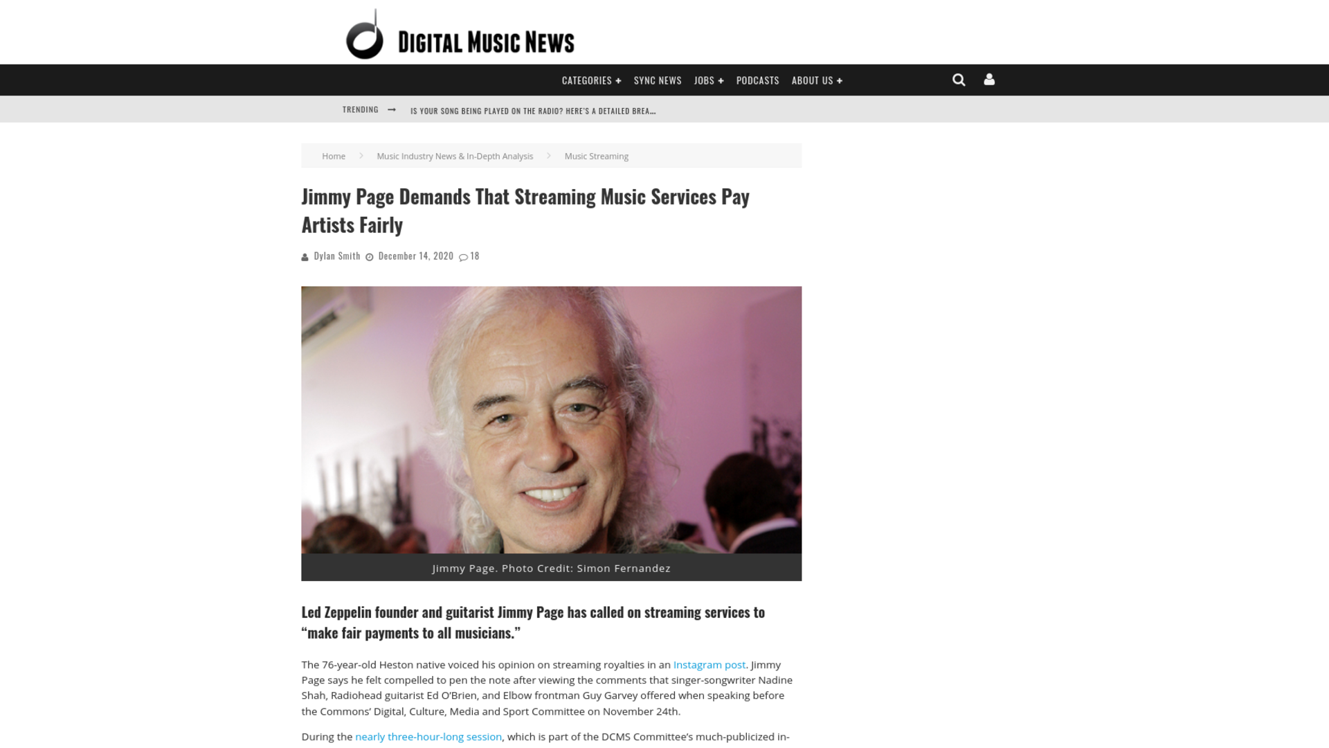 Fairness Rocks News Jimmy Page Demands That Streaming Music Services Pay Artists Fairly