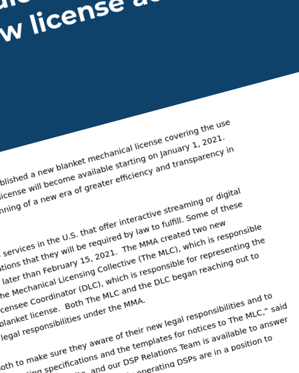 Fairness Rocks News A New Era: A New License for U.S. Digital Audio Mechanicals  Digital audio services are already preparing to secure new license administered by The MLC