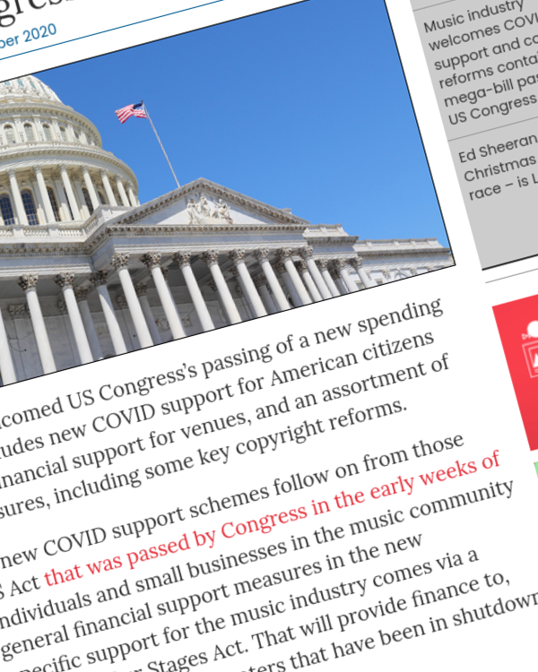 Fairness Rocks News Music industry welcomes COVID support and copyright reforms contained in mega-bill passed by US Congress