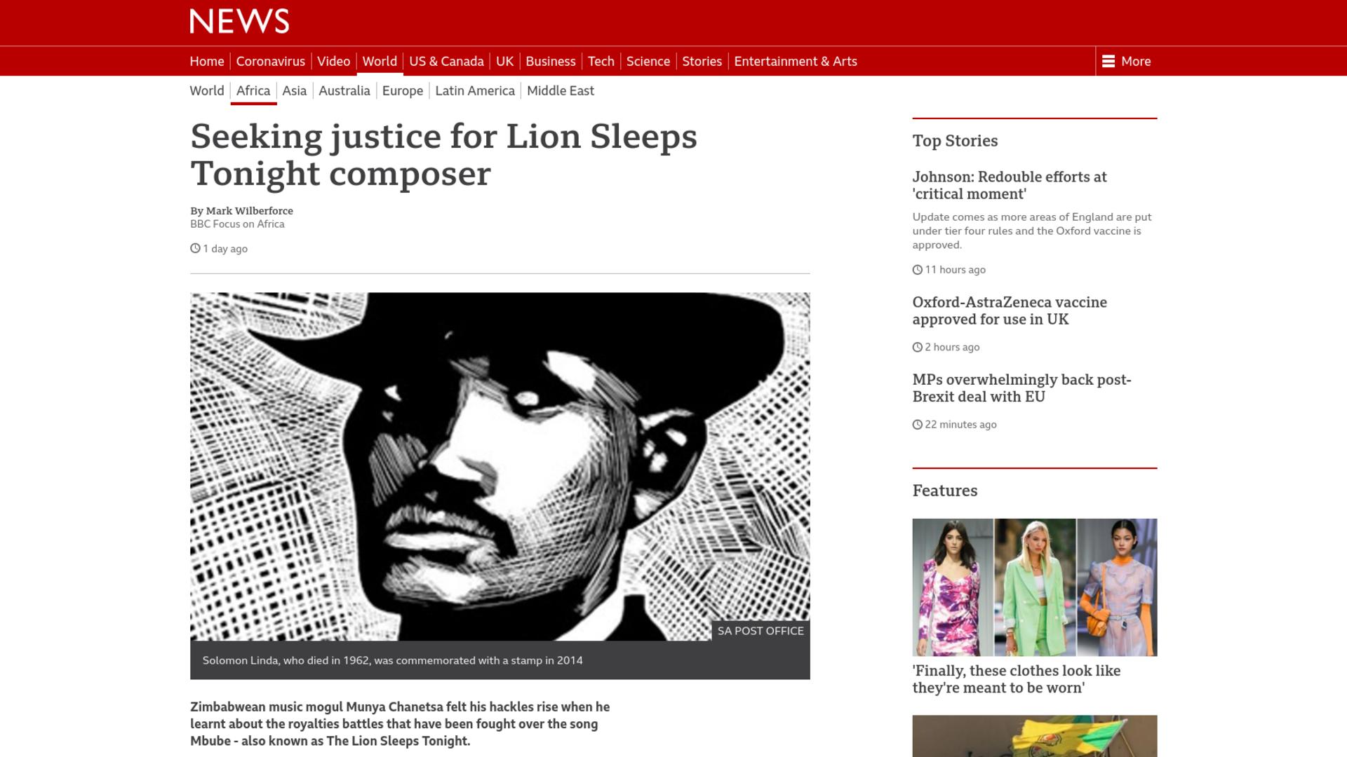 Fairness Rocks News Seeking justice for Lion Sleeps Tonight composer