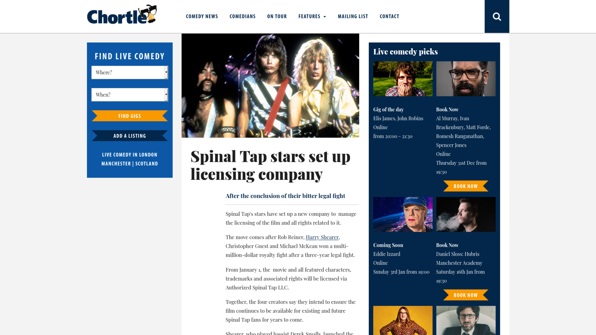 Fairness Rocks News Spinal Tap stars set up licensing company
