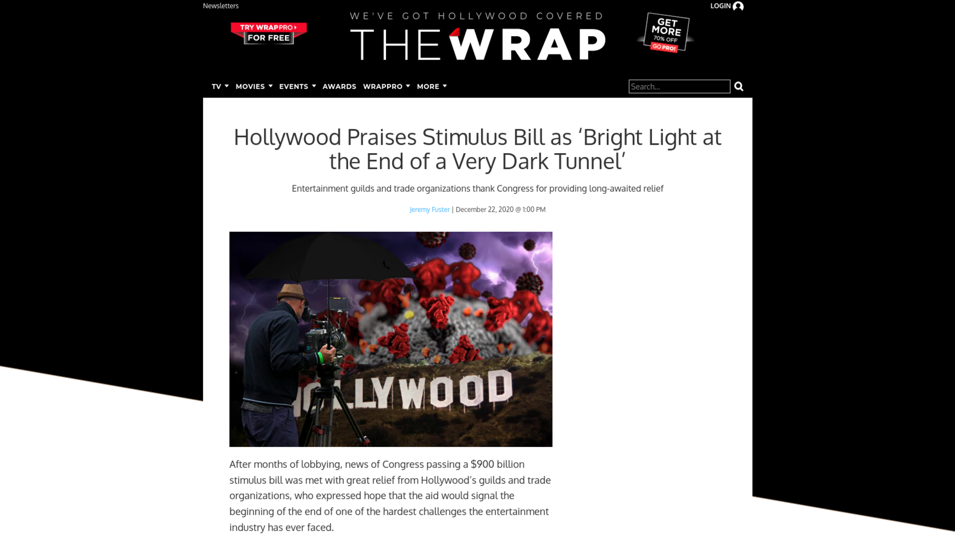 Fairness Rocks News Hollywood Praises Stimulus Bill as 'Bright Light at the End of a Very Dark Tunnel'