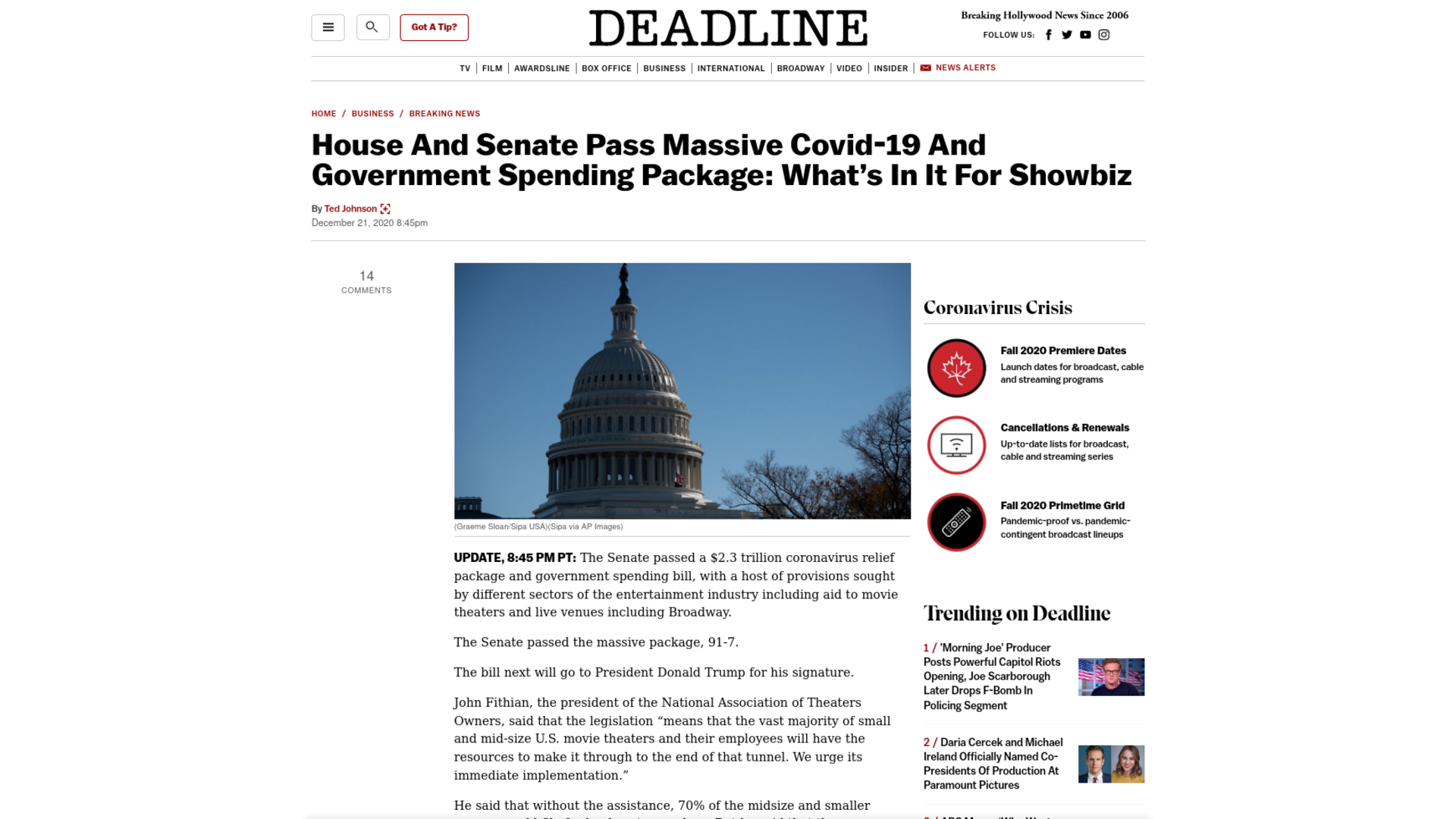 Fairness Rocks News House And Senate Pass Massive Covid-19 And Government Spending Package: What's In It For Showbiz