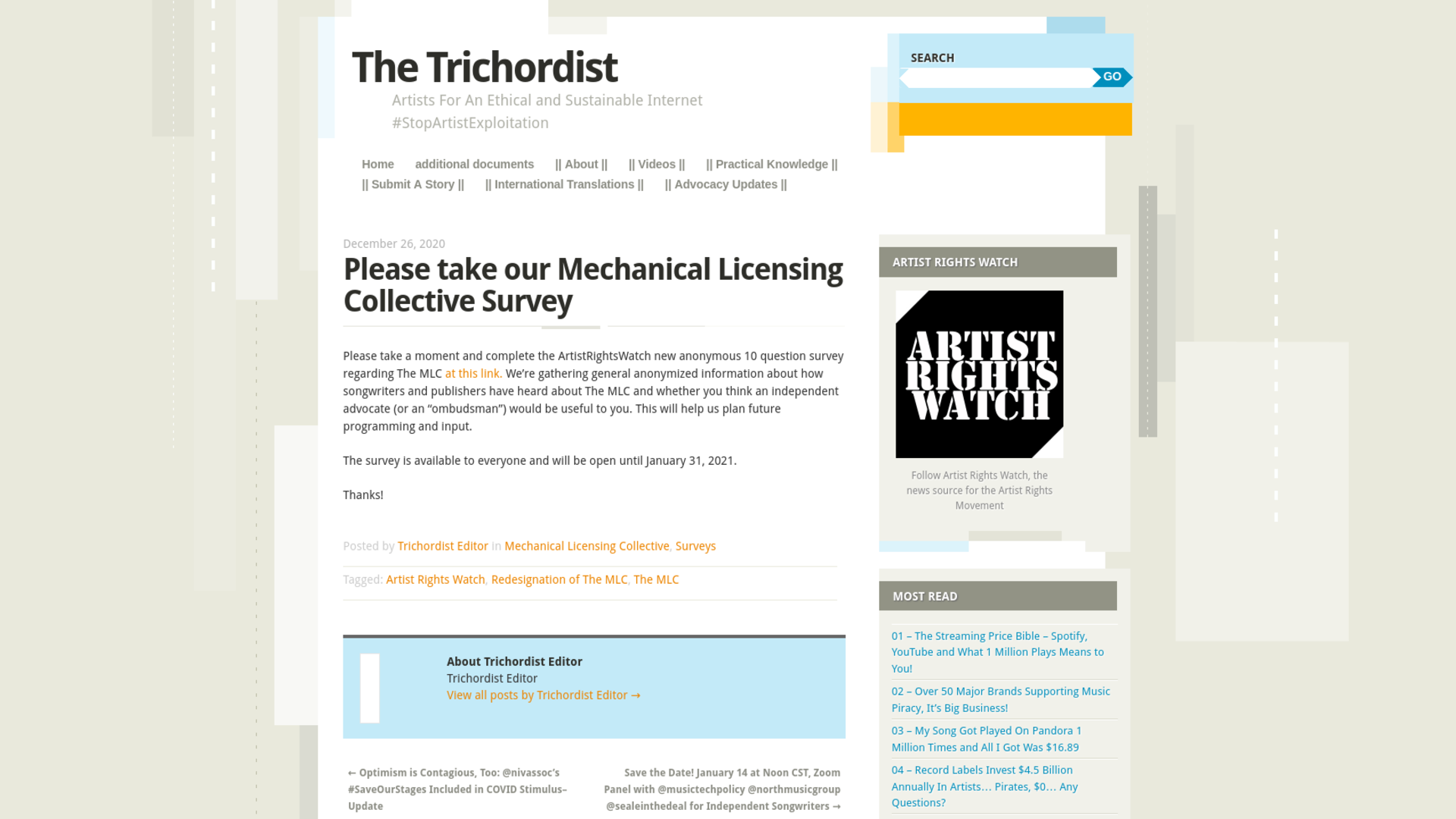 Fairness Rocks News Please take our Mechanical Licensing Collective Survey