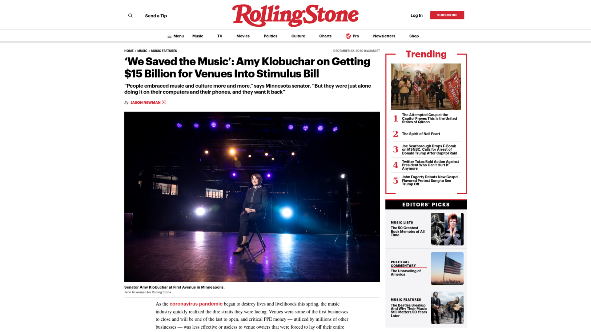Fairness Rocks News 'We Saved the Music': Amy Klobuchar on Getting $15 Billion for Venues Into Stimulus Bill