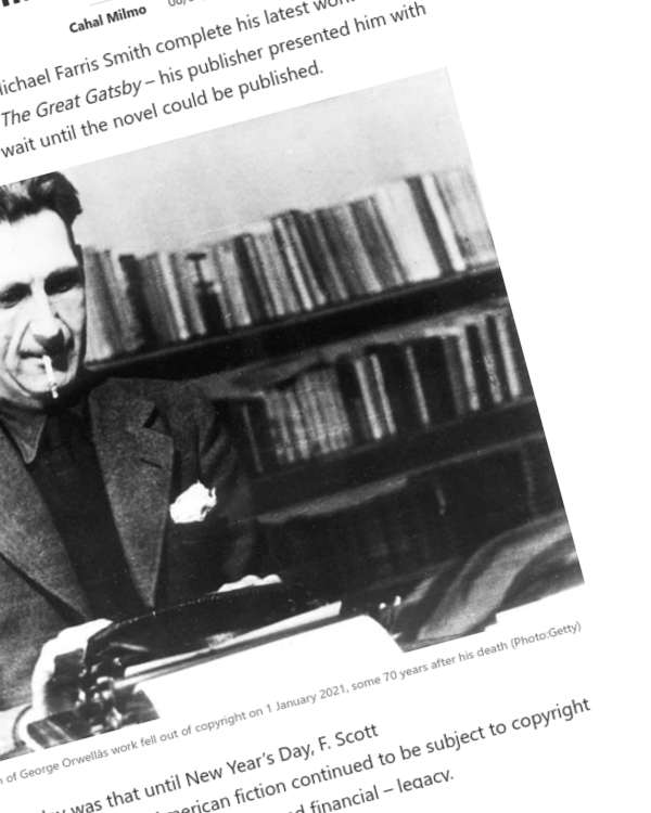 Fairness Rocks News As George Orwell and The Great Gatsby come out of copyright what next for some of literature's greatest works?