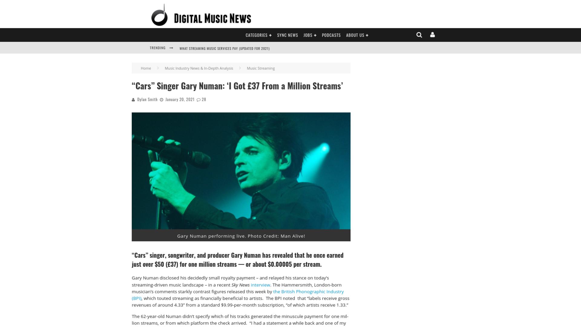 "Fairness Rocks News ""Cars"" Singer Gary Numan: 'I Got £37 From a Million Streams'"