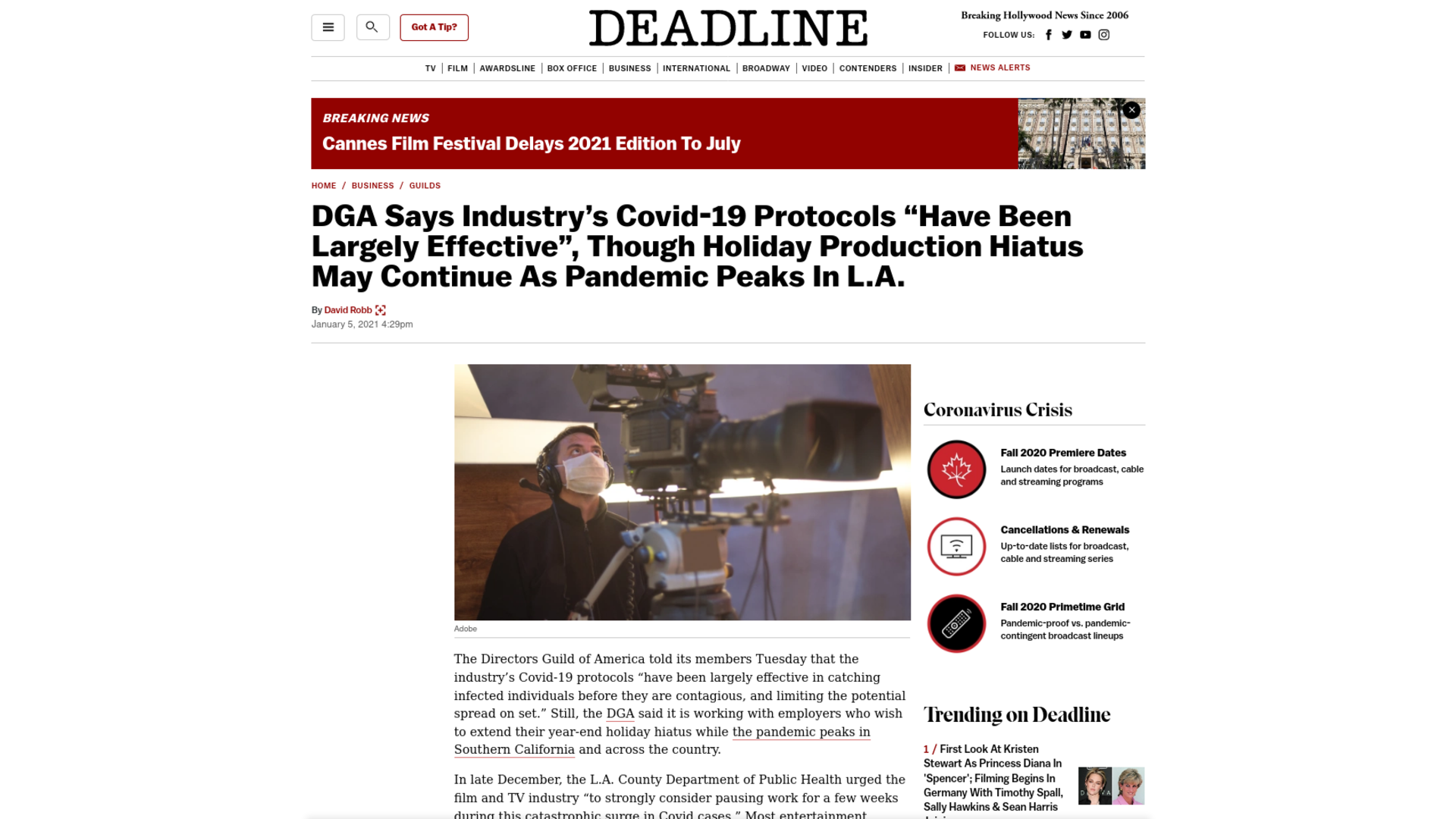 "Fairness Rocks News DGA Says Industry's Covid-19 Protocols ""Have Been Largely Effective"", Though Holiday Production Hiatus May Continue As Pandemic Peaks In L.A."