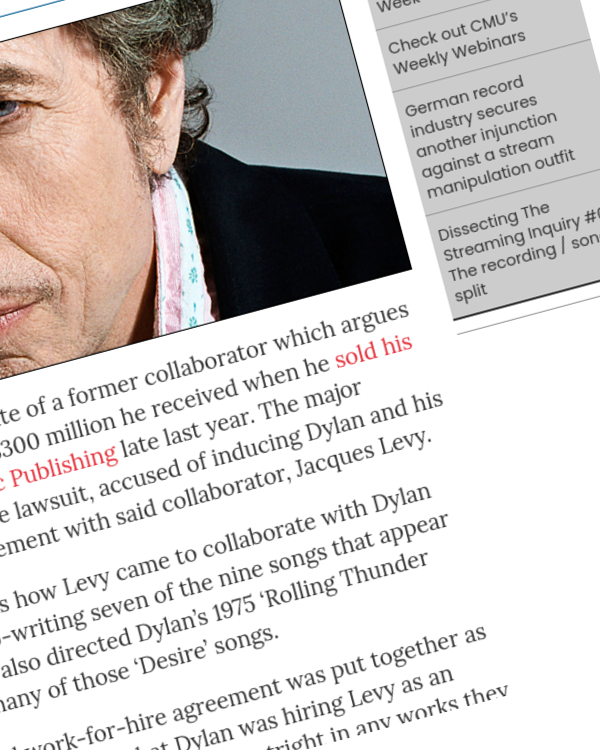Fairness Rocks News Estate for Bob Dylan collaborator sues for cut of $300 million Universal catalogue grab