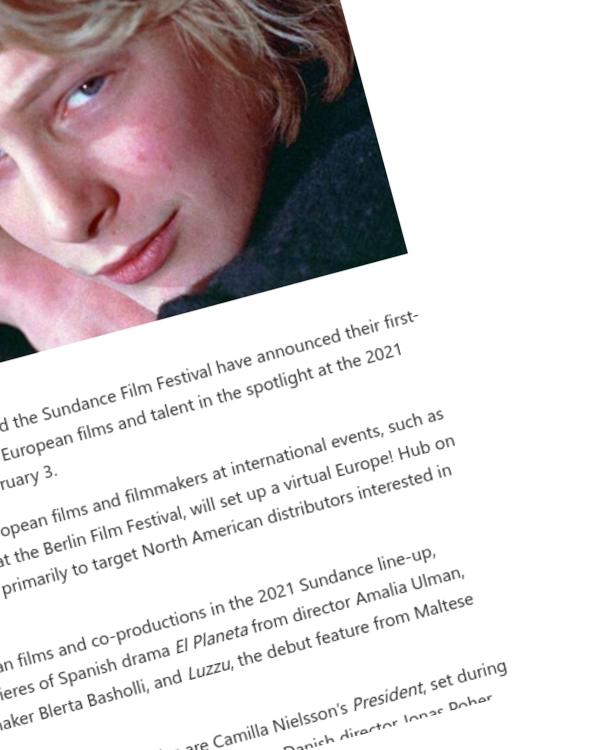 Fairness Rocks News European Film Spotlight at Sundance Festival
