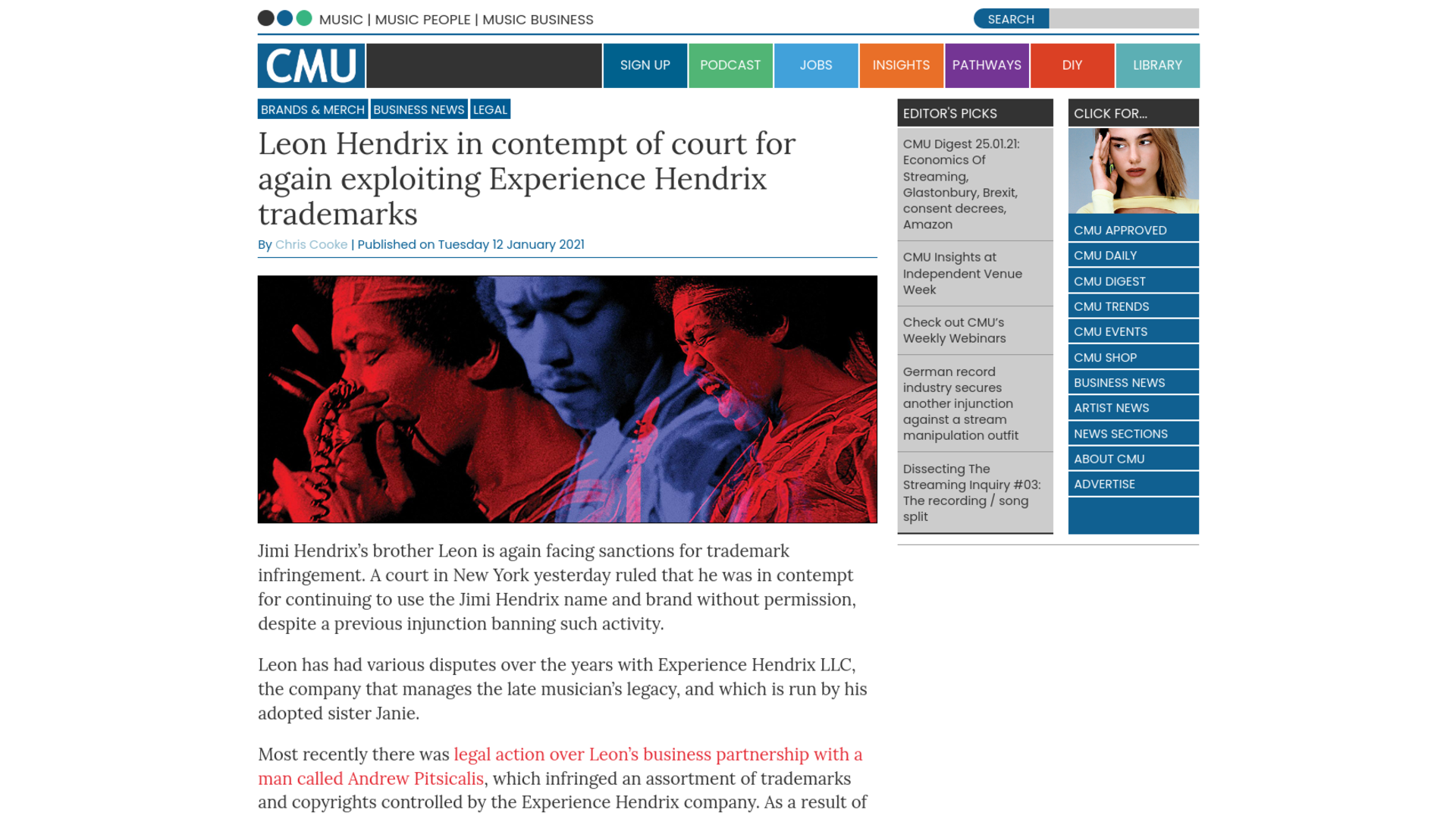 Fairness Rocks News Leon Hendrix in contempt of court for again exploiting Experience Hendrix trademarks