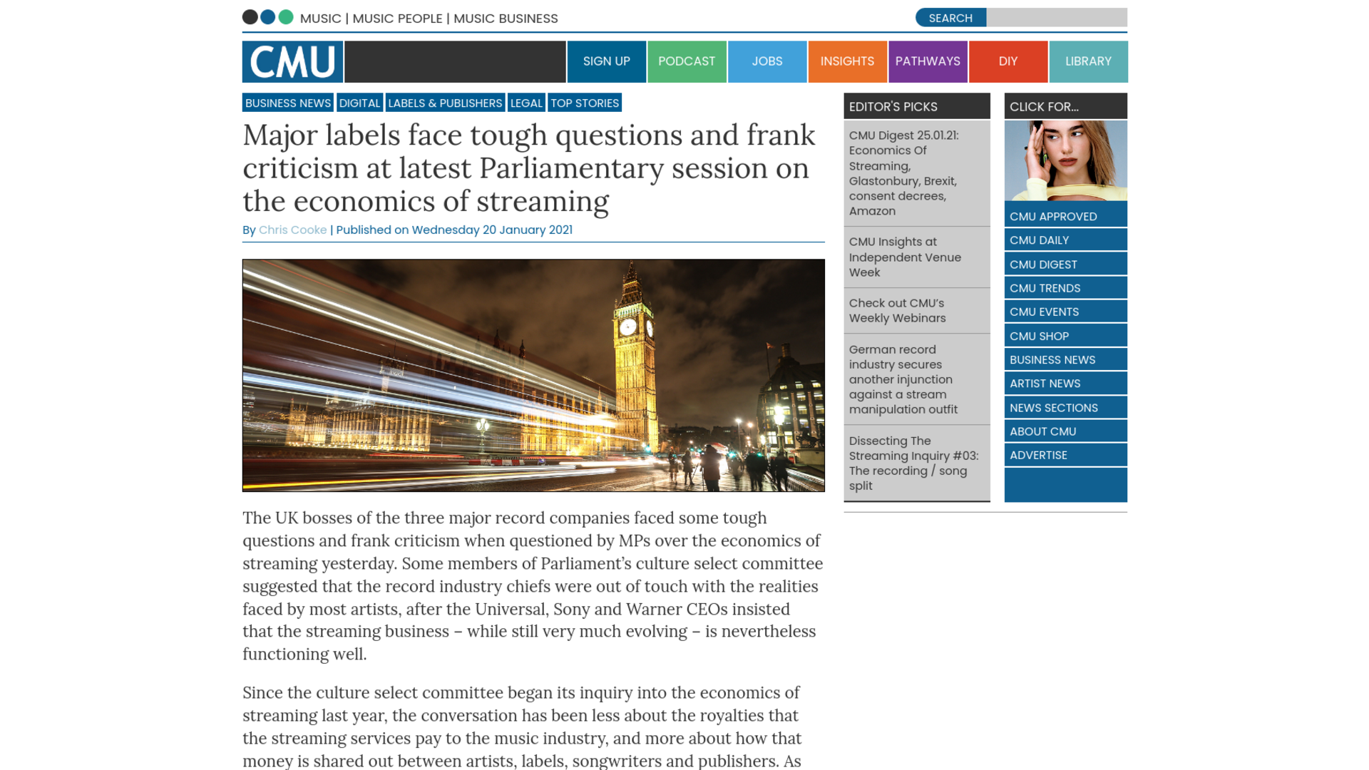 Fairness Rocks News Major labels face tough questions and frank criticism at latest Parliamentary session on the economics of streaming