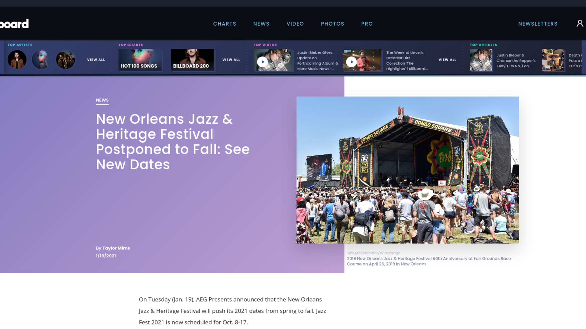 Fairness Rocks News New Orleans Jazz & Heritage Festival Postponed to Fall: See New Dates