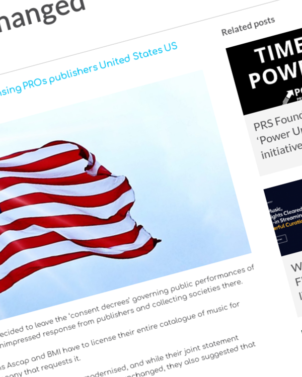 Fairness Rocks News Publishers and PROs 'disappointed' as US consent decrees are unchanged