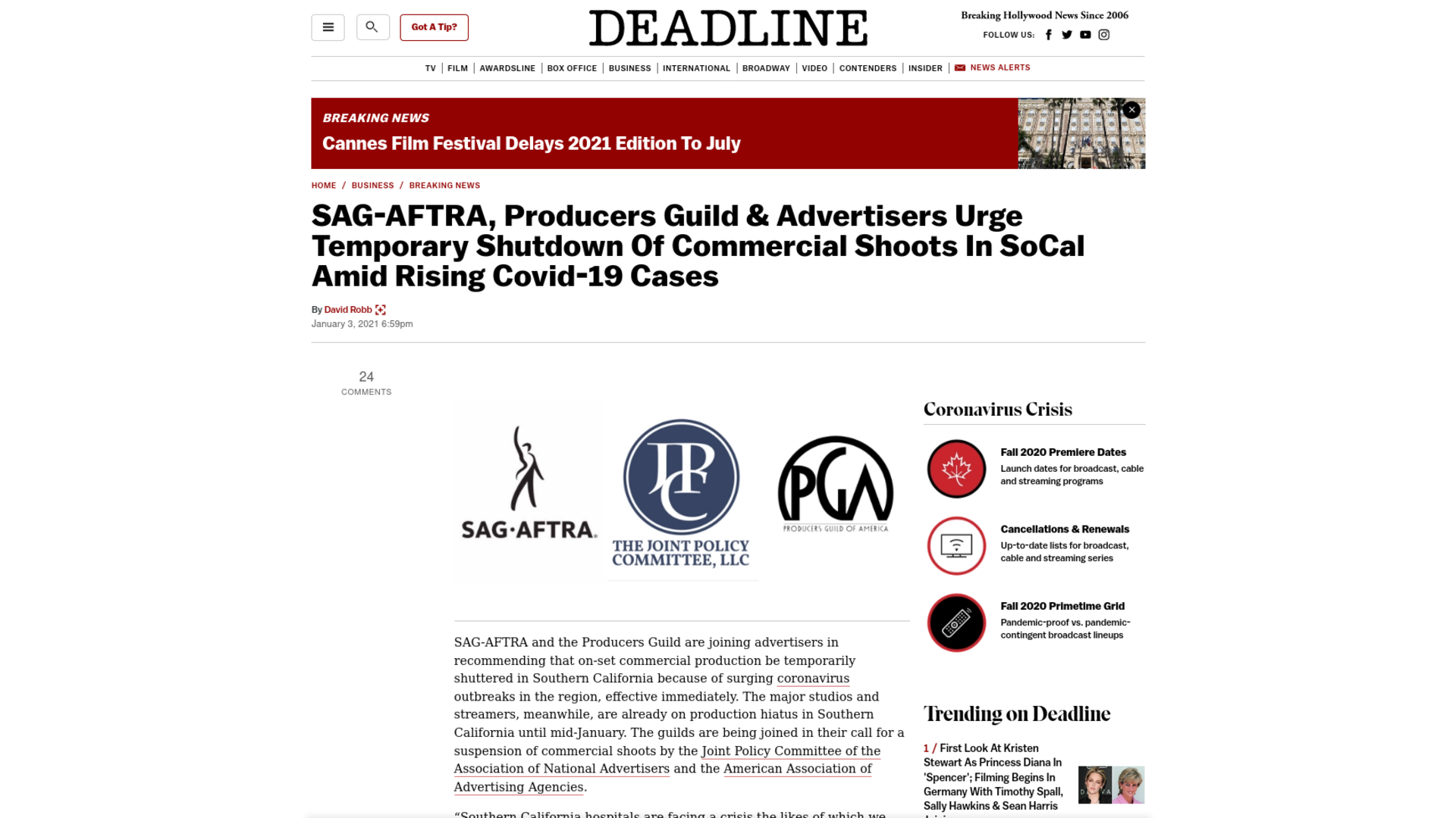 Fairness Rocks News SAG-AFTRA, Producers Guild & Advertisers Urge Temporary Shutdown Of Commercial Shoots In SoCal Amid Rising Covid-19 Cases