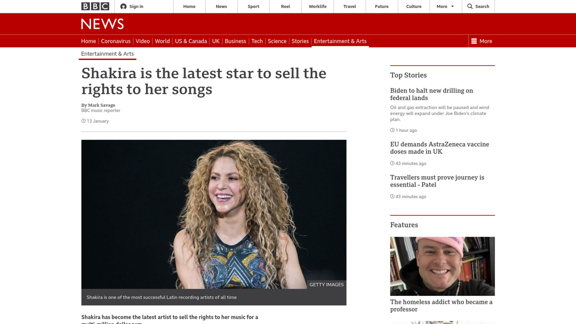 Fairness Rocks News Shakira is the latest star to sell the rights to her songs