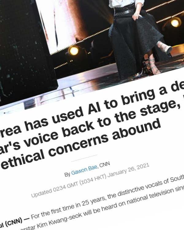 Fairness Rocks News South Korea has used AI to bring a dead superstar's voice back to the stage, but ethical concerns abound