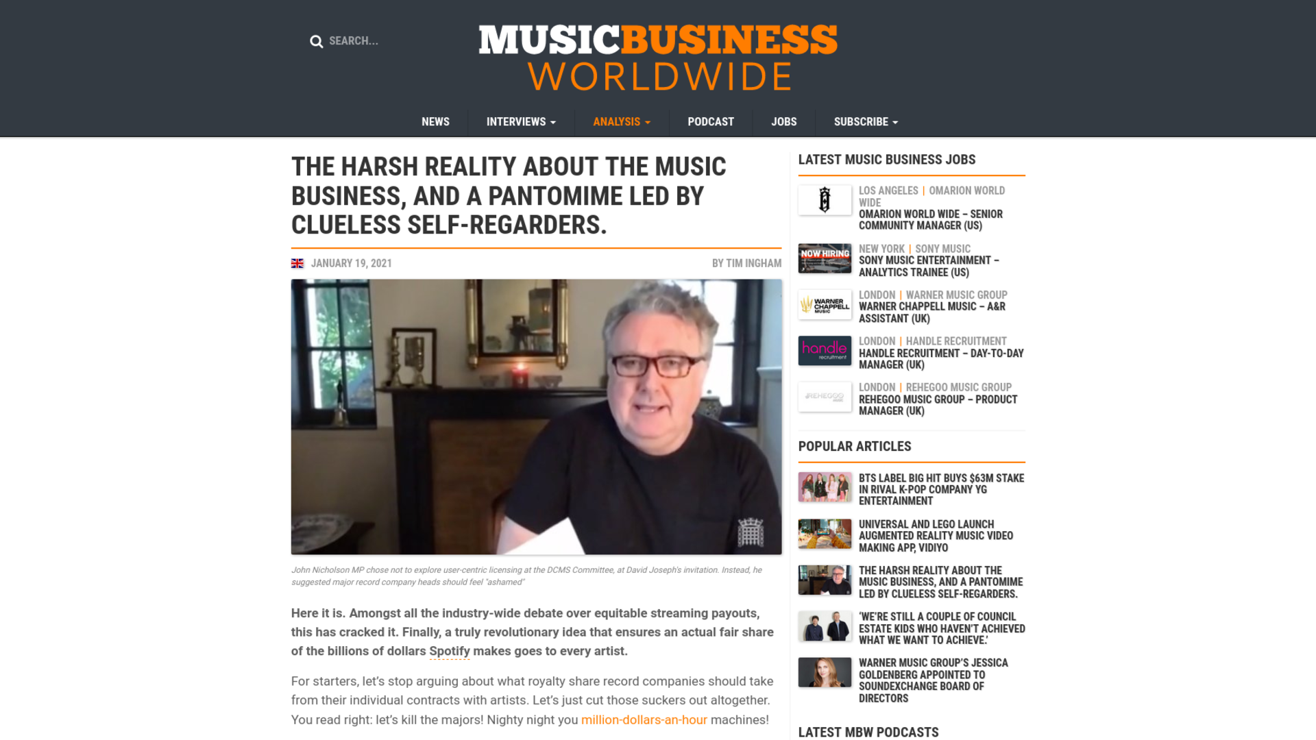 Fairness Rocks News The harsh reality about the music business, and a pantomime led by clueless self-regarders.