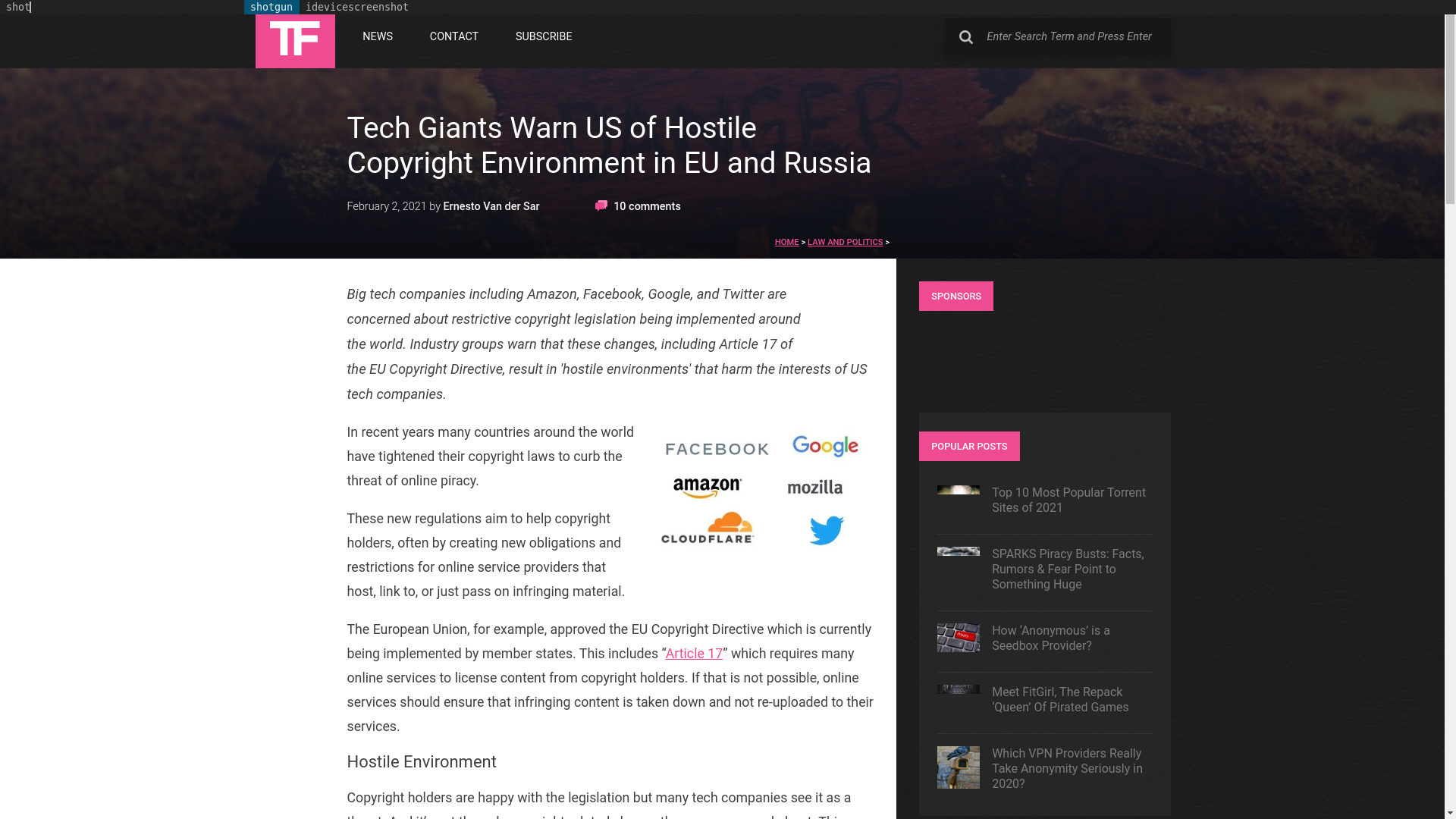 Fairness Rocks News Tech Giants Warn US of Hostile Copyright Environment in EU and Russia