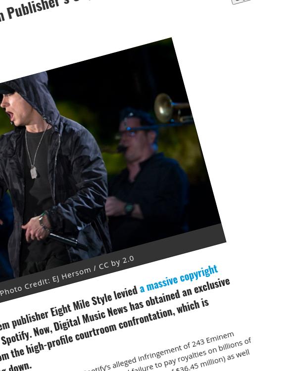 Fairness Rocks News Preliminary Schedule Set in Eminem Publisher's Unpaid-Royalties Lawsuit Against Spotify