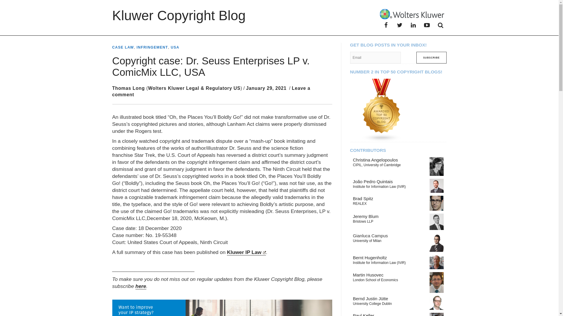Fairness Rocks News Copyright case: Dr. Seuss Enterprises LP v. ComicMix LLC, USA