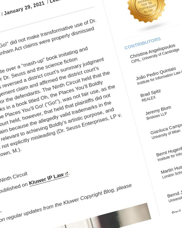 Fairness Rocks News Copyright case: Dr. Seuss Enterprises LP v. ComicMix LLC, USA