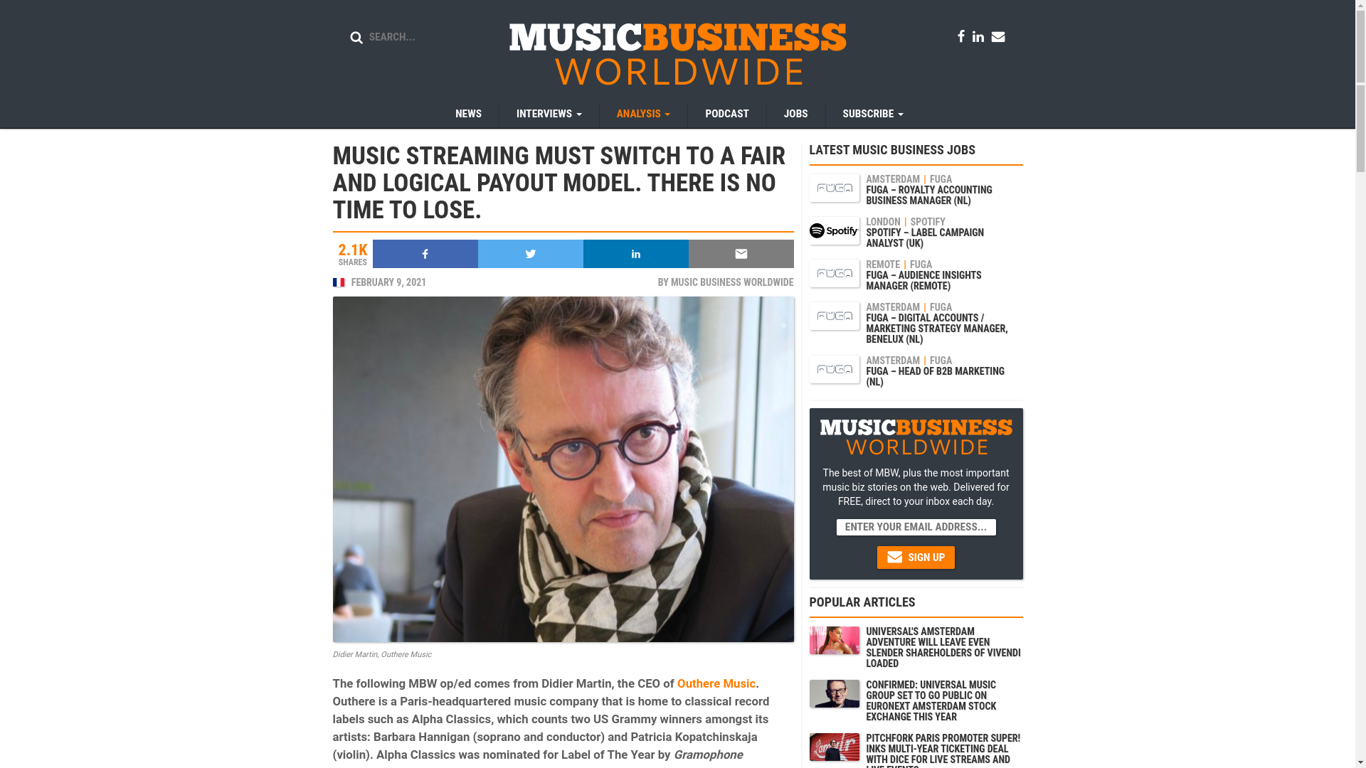 Fairness Rocks News MUSIC STREAMING MUST SWITCH TO A FAIR AND LOGICAL PAYOUT MODEL. THERE IS NO TIME TO LOSE.