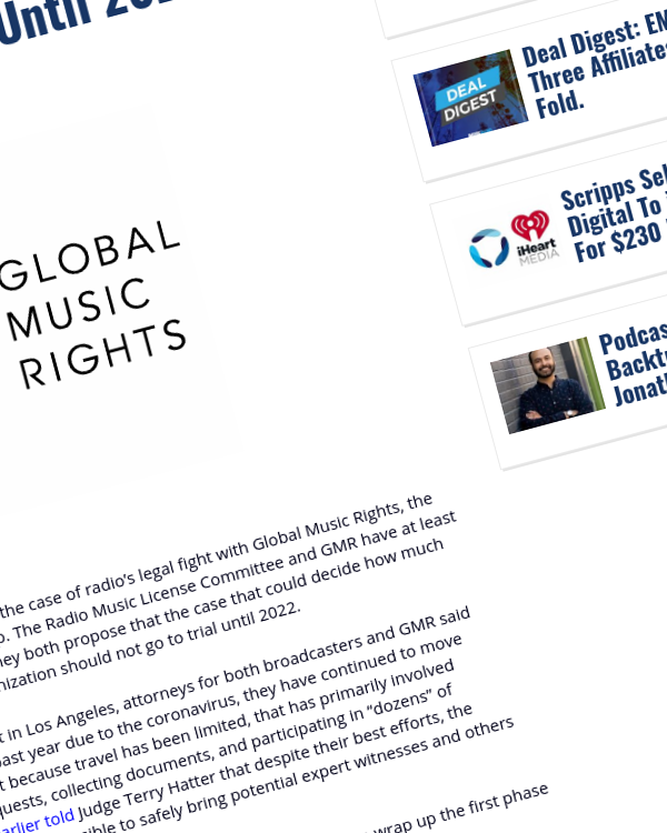 Fairness Rocks News Radio Will Not Have Any Resolution To Its GMR Royalties Fight Until 2022.