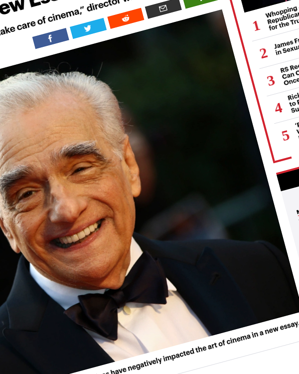 Fairness Rocks News Martin Scorsese Discusses Cinema Being 'Devalued' as 'Content' in New Essay