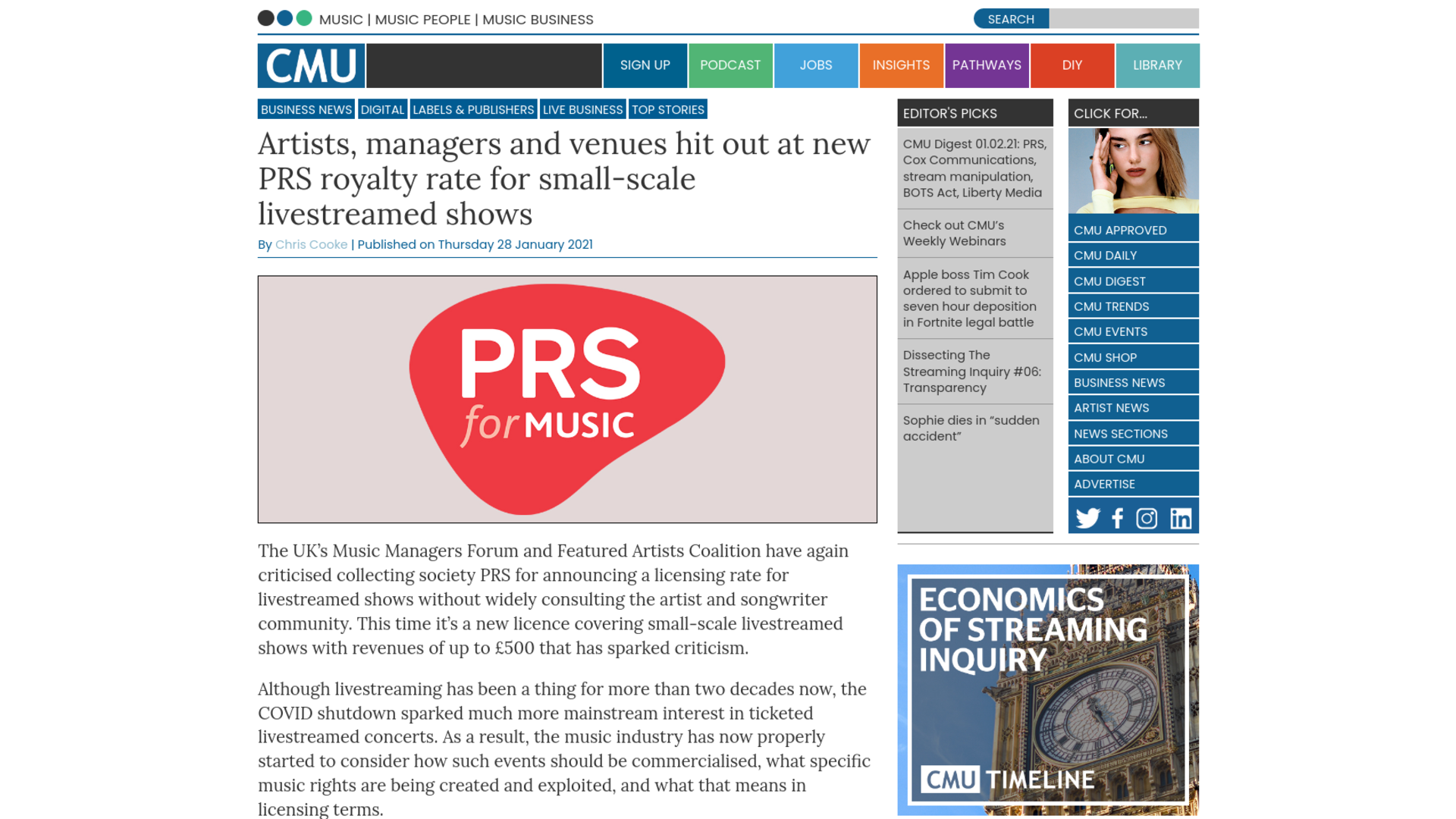 Fairness Rocks News Artists, managers and venues hit out at new PRS royalty rate for small-scale livestreamed shows