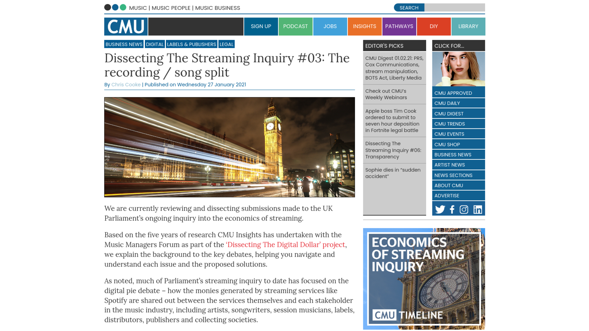 Fairness Rocks News Dissecting The Streaming Inquiry #03: The recording / song split