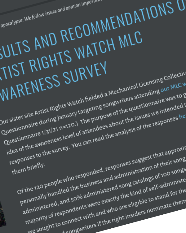 Fairness Rocks News Results and Recommendations of the Artist Rights Watch MLC Awareness Survey