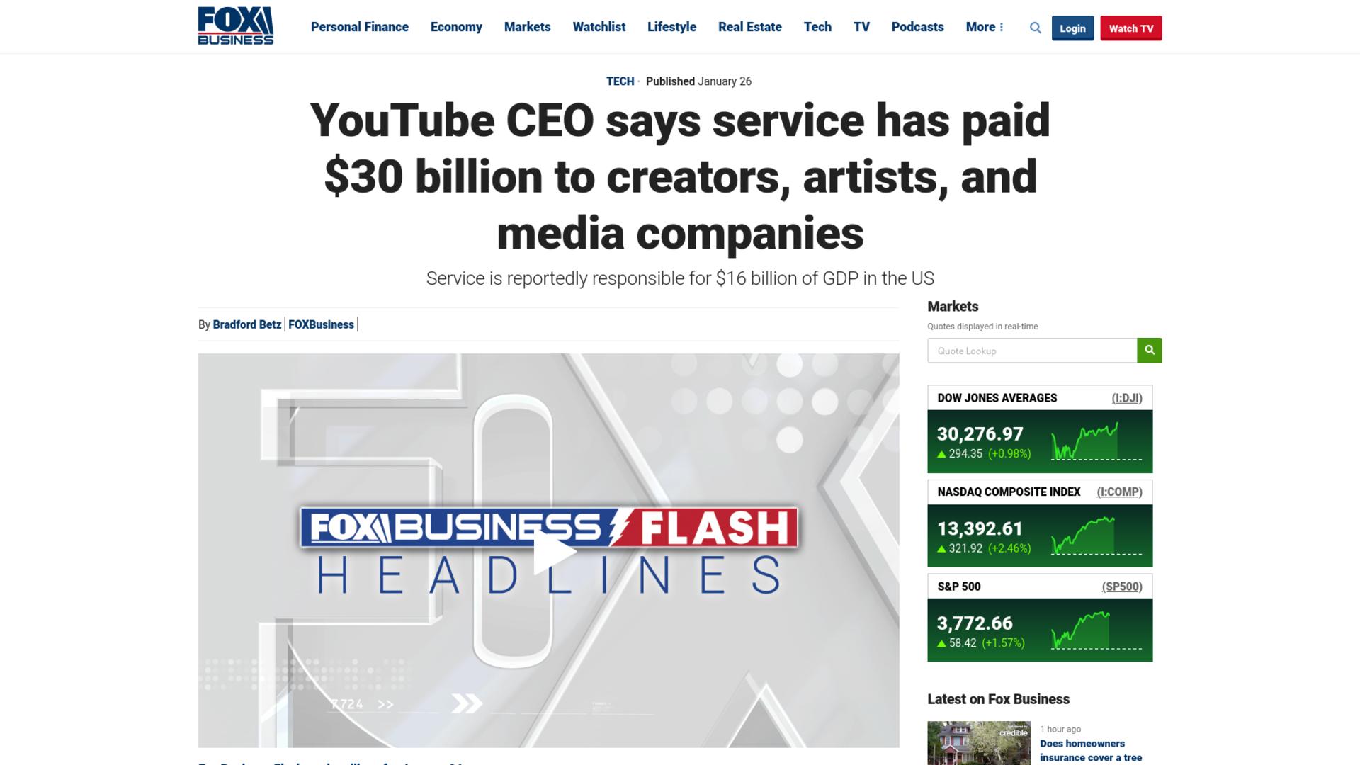 Fairness Rocks News YouTube CEO says service has paid $30 billion to creators, artists, and media companies