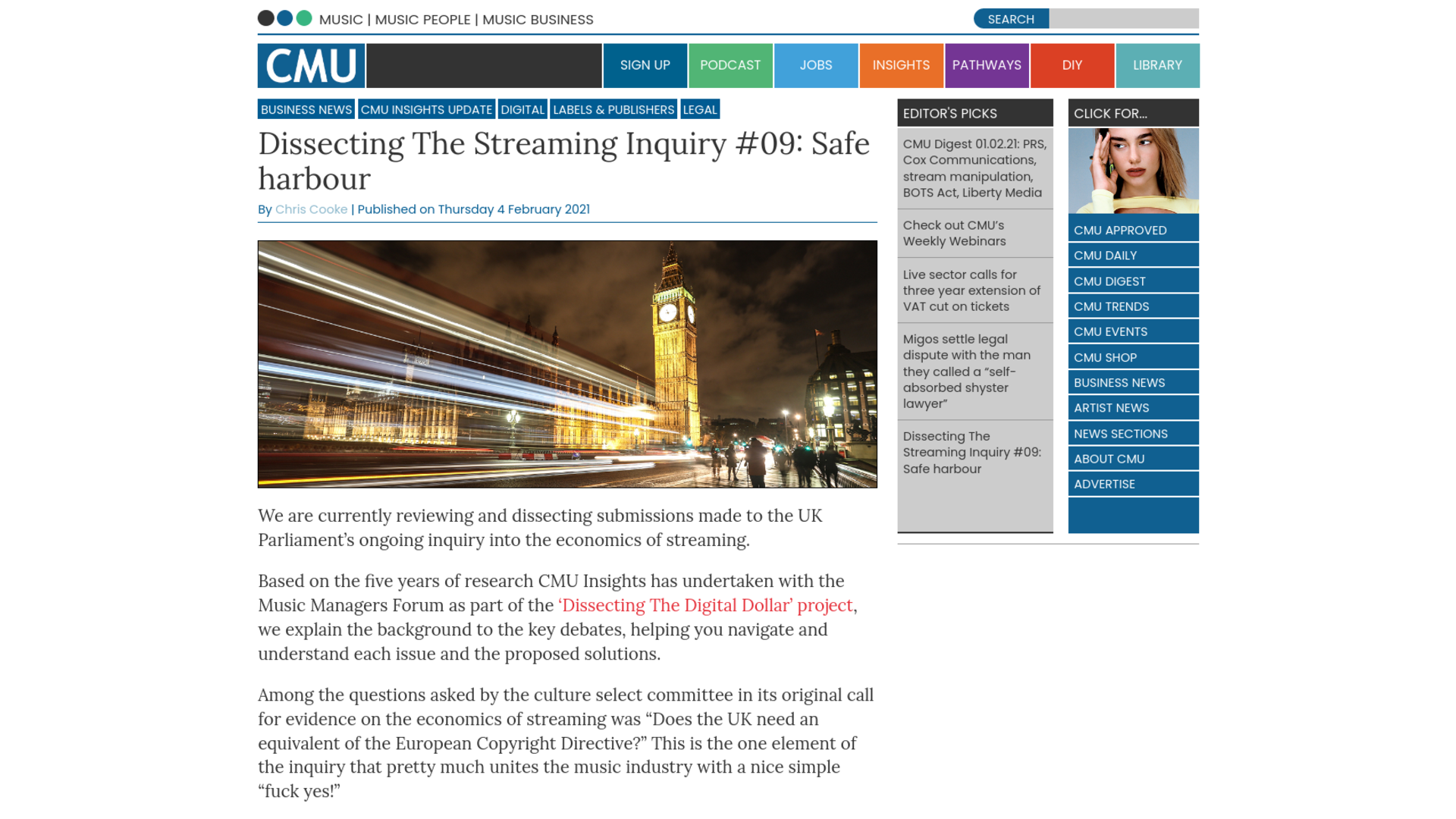 Fairness Rocks News Dissecting The Streaming Inquiry #09: Safe harbour