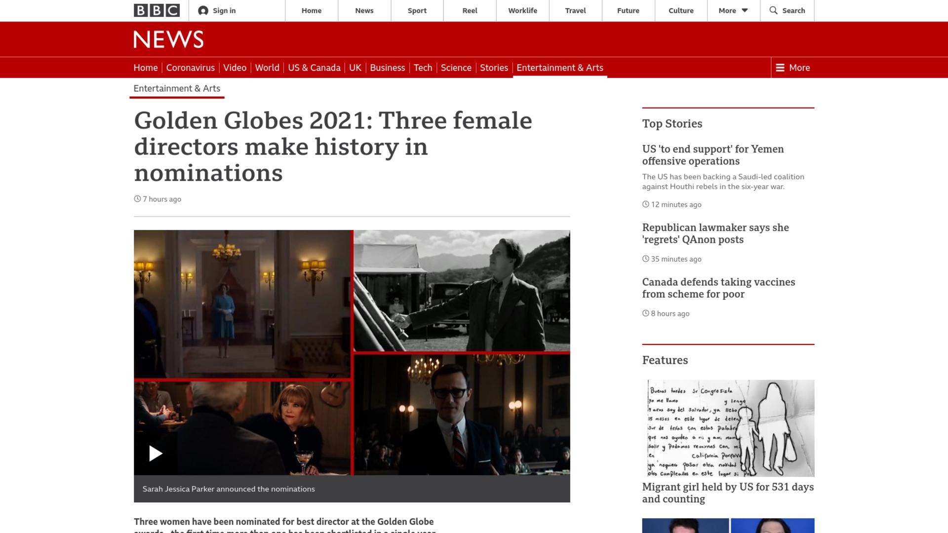 Fairness Rocks News Golden Globes 2021: Three female directors make history in nominations