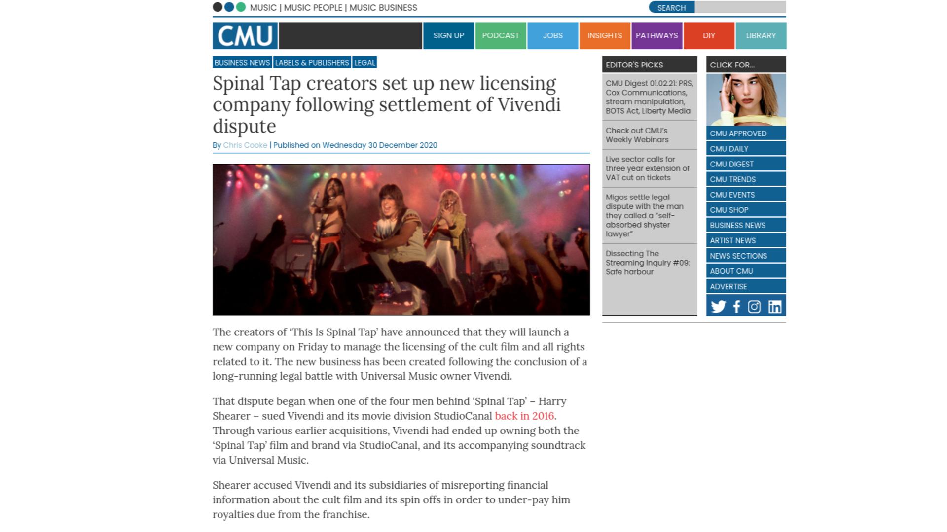 Fairness Rocks News Spinal Tap creators set up new licensing company following settlement of Vivendi dispute