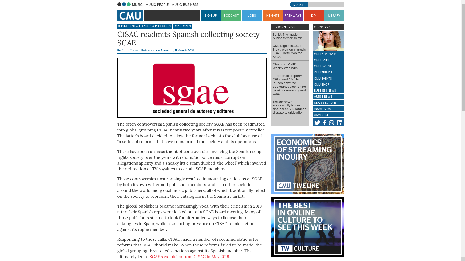 Fairness Rocks News CISAC readmits Spanish collecting society SGAE