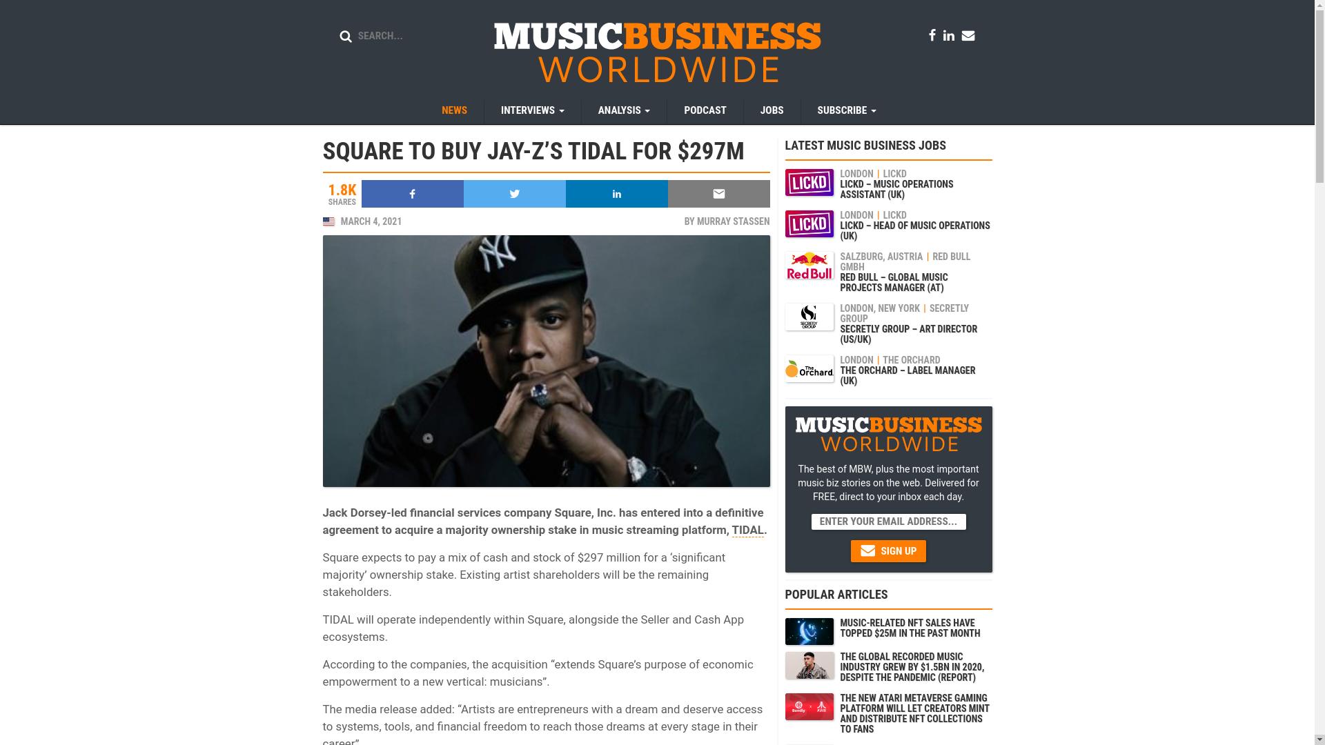 Fairness Rocks News SQUARE TO BUY JAY-Z'S TIDAL FOR $297M