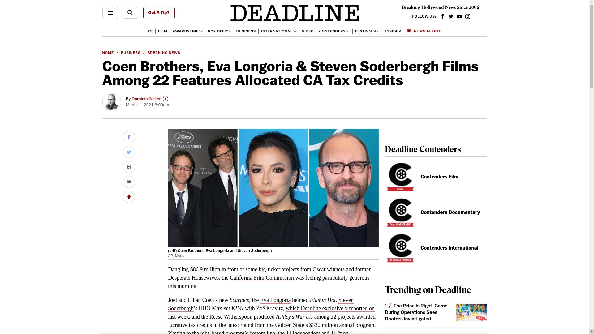 Fairness Rocks News Coen Brothers, Eva Longoria & Steven Soderbergh Films Among 22 Features Allocated CA Tax Credits
