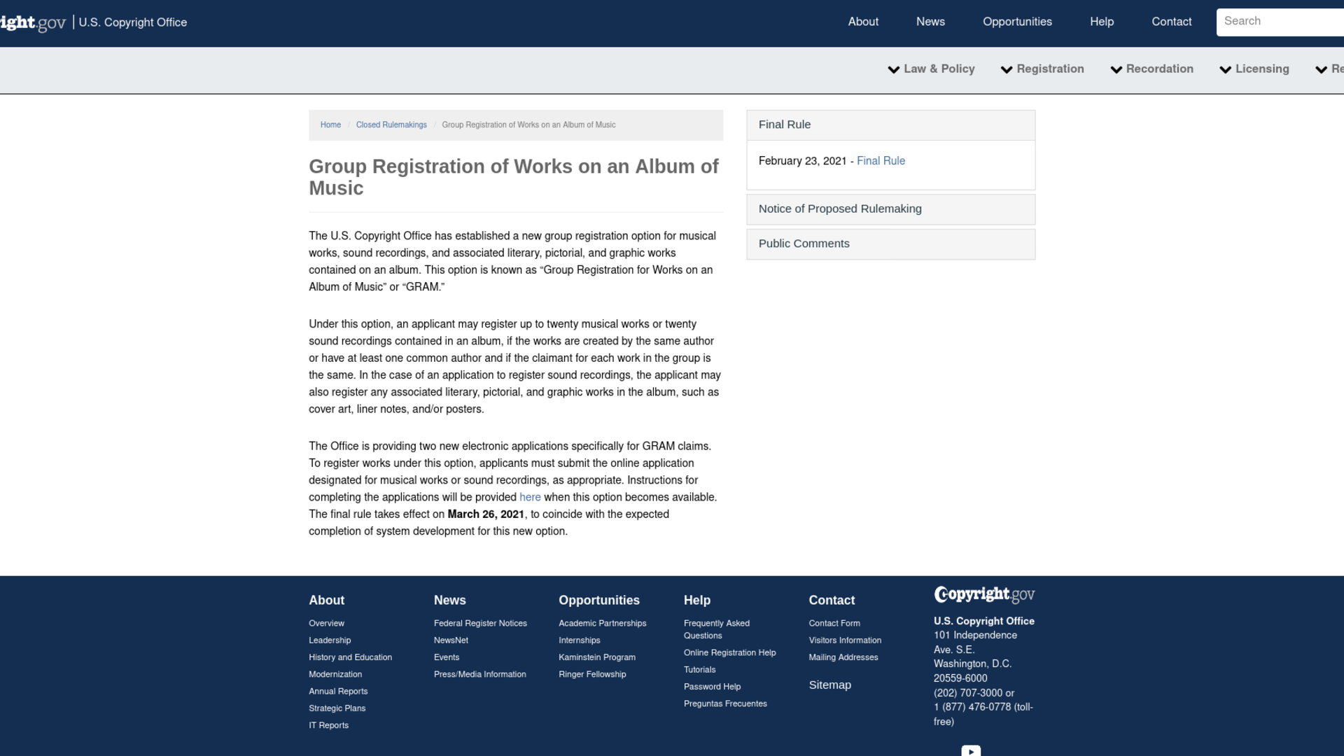 Fairness Rocks News Group Registration of Works on an Album of Music