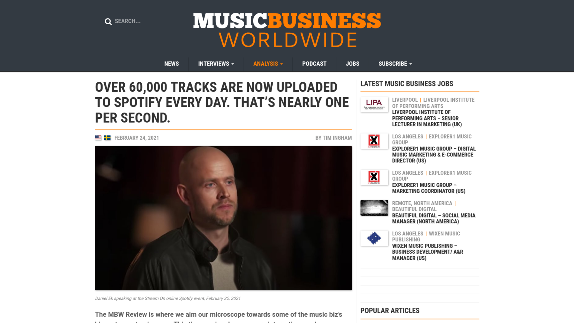 Fairness Rocks News OVER 60,000 TRACKS ARE NOW UPLOADED TO SPOTIFY EVERY DAY. THAT'S NEARLY ONE PER SECOND.